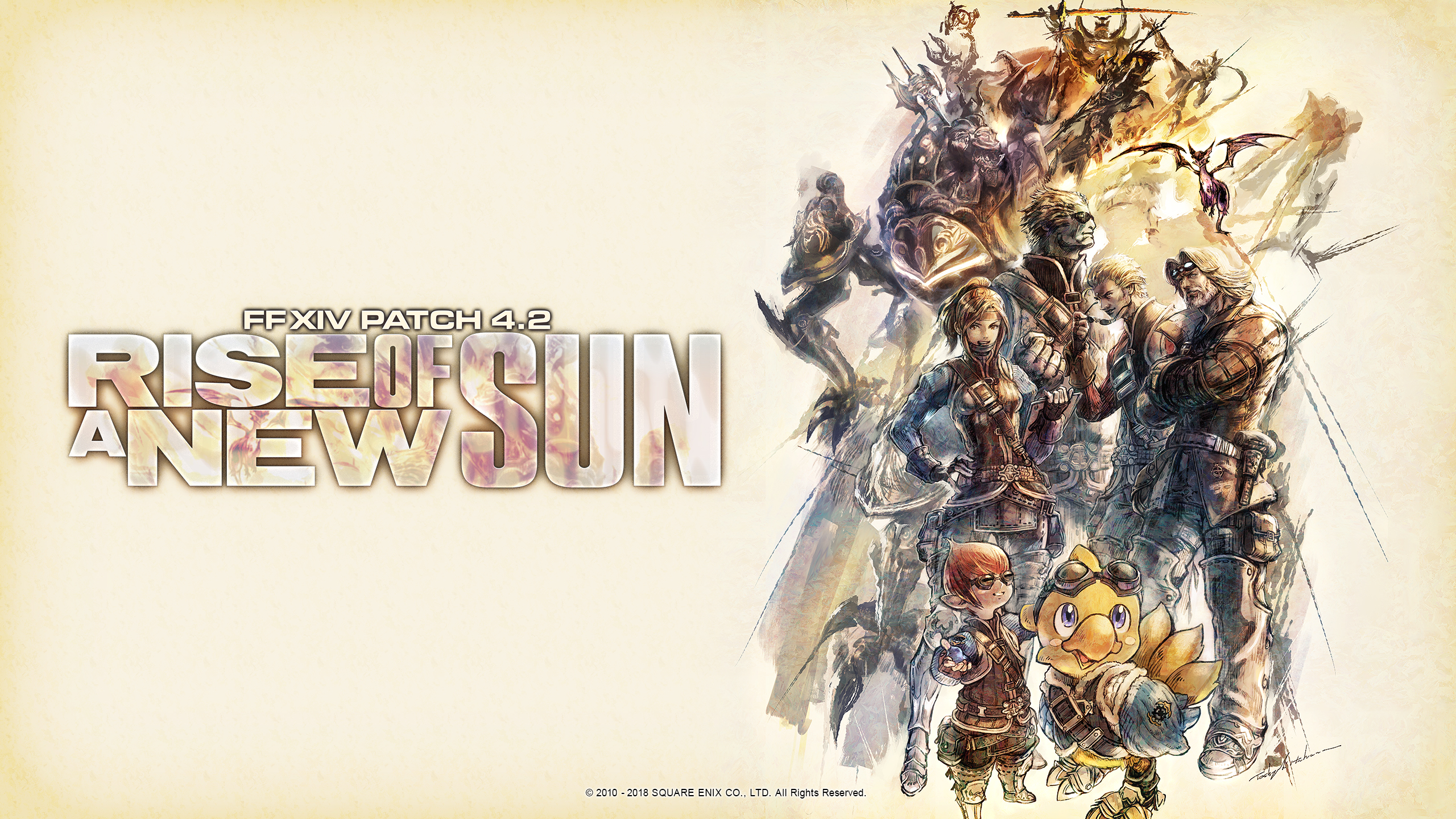 """The desktop wallpaper for Final Fantasy XIV patch 4.2, """"Rise of a New Sun,"""" with artwork depicting the members of Garlond Ironworks."""